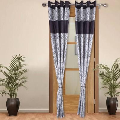 Shoppeholics Polyester White, Black Self Design Eyelet Door Curtain