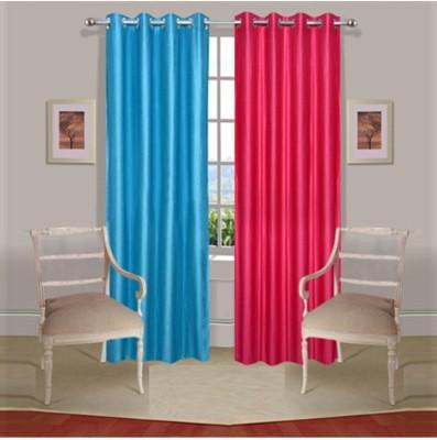 Fogg Polyester Pink, Blue Floral Eyelet Door Curtain