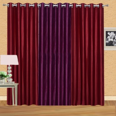 Excel Bazaar Polycotton Maroon-1wine Plain Eyelet Door Curtain