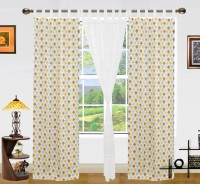 Dekor World Cotton Yellow/White Printed Tab Top Window Curtain(150 cm in Height, Pack of 3)