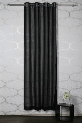 Homelife Polyester Black Solid Eyelet Door Curtain