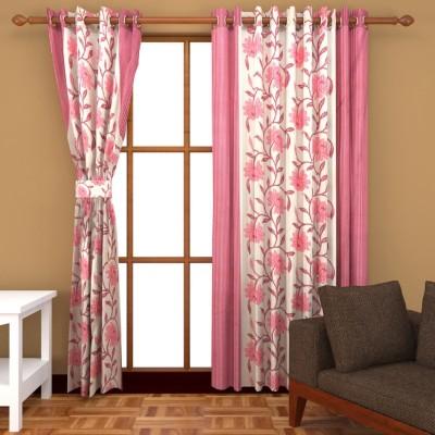 Royal Shri Om Polyester Pink Floral Eyelet Window & Door Curtain