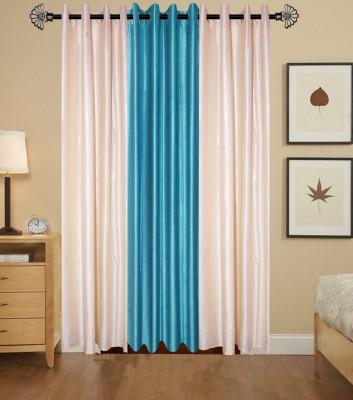IndianOnlineMall Polyester Cream, Aqua Plain Eyelet Long Door Curtain