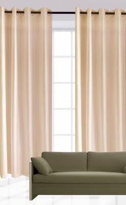 India Furnish Polyester Beige Plain Eyelet Door Curtain