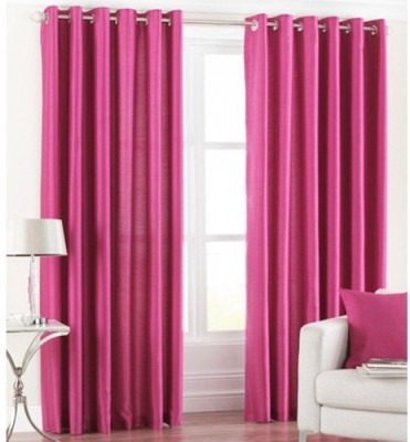 Home And Craft Polyester Pink Floral Eyelet Door Curtain