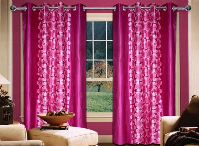 Home Creations Polyester Pink Floral Eyelet Door Curtain