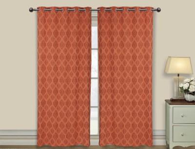 Elan Cotton Brown Motif Eyelet Long Door Curtain