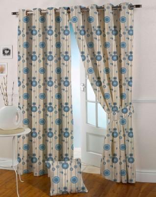 Presto Polyester Blue Floral Eyelet Door Curtain