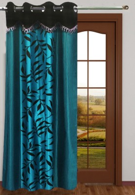 Homefab India Polyester Blue Floral Eyelet Window & Door Curtain
