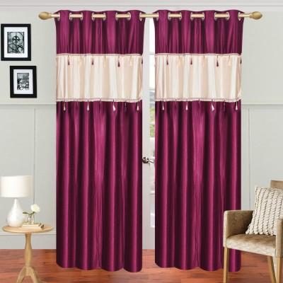 Dreamshomes Polyester Wine, Beige Solid Rod pocket Door Curtain