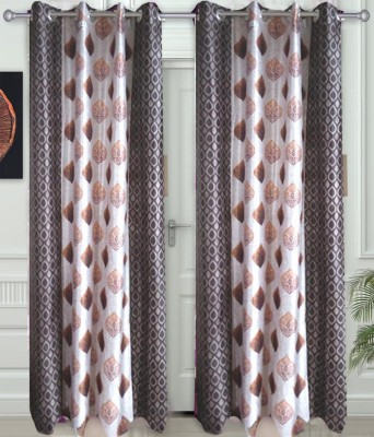JF Polycotton Brown Printed Eyelet Window & Door Curtain