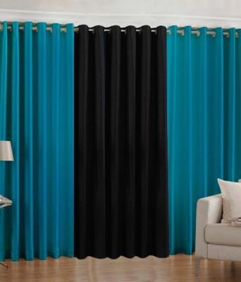 Ech Oly Polyester Aqua, Black Plain Eyelet Long Door Curtain