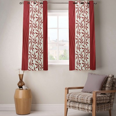 Enaakshi Polyester Red Floral Eyelet Window Curtain