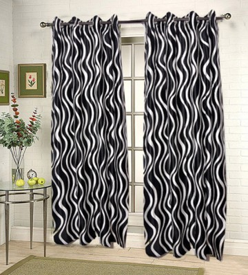 JBG Home Store Polyester Black Striped Eyelet Door Curtain