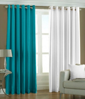 RK Home Furnishing Polyester Light Blue, White Solid Eyelet Door Curtain