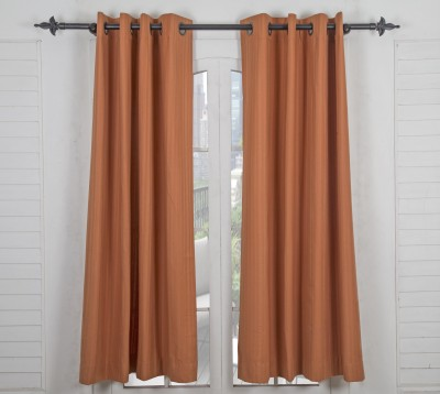 Maspar Cotton Orange Striped Eyelet Window Curtain
