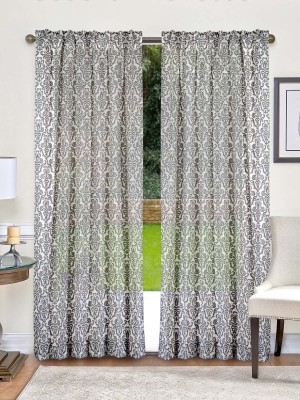 Indian Weave Cotton Grey Printed Curtain Window Curtain