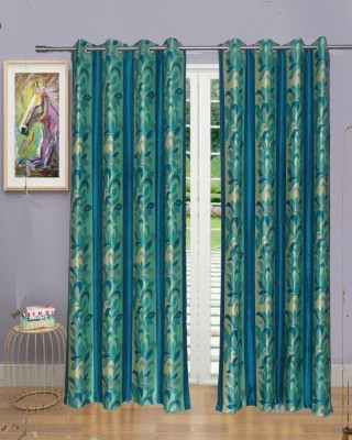 Singhs Villas Decor Polyester Multicolor Abstract Eyelet Door Curtain