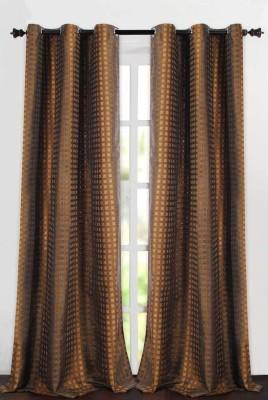 Deco Essential Polyester Black Plain Eyelet Window Curtain