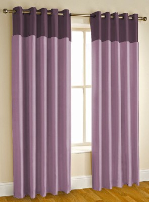 Kwality Blackout Polyester Purple Plain Eyelet Window & Door Curtain