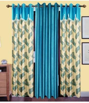 Handloom Hut Polyester Multicolor Self Design Eyelet Long Door Curtain