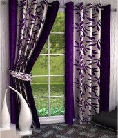 Home Pictures Polyester Purple Abstract Ring Rod Long Door Curtain(274 cm in Height, Pack of 2)
