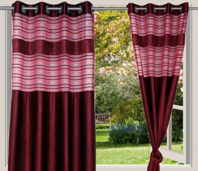 Desire Polyester Maroon Solid Eyelet Long Door Curtain