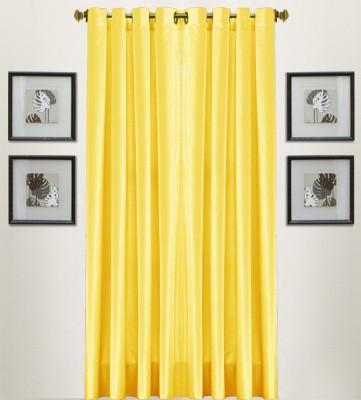 Thiwas Polyester Yellow Plain Eyelet Door Curtain