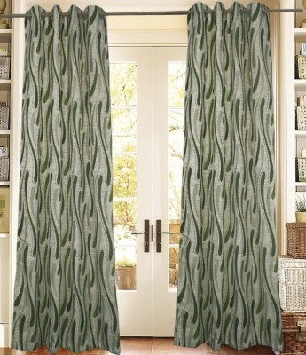 Trendzone Cotton, Chenille Green, Cream Floral Ring Rod Long Door Curtain