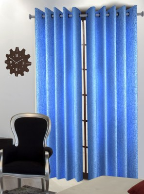 Home Blossoms Polyester Light Blue Floral Eyelet Window Curtain