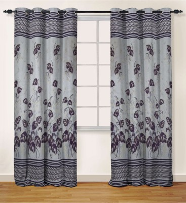 Oro Decor Polyester Wine Floral Eyelet Door Curtain