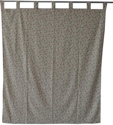 Adt Saral Cotton White Printed Eyelet Door Curtain