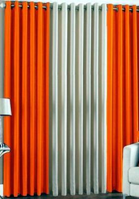sajaawat Polyester ORANGE:WHITE Solid Eyelet Door Curtain