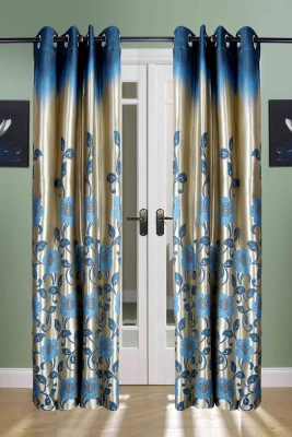 the handloom store Polycotton Blue Floral, Self Design Eyelet Door Curtain