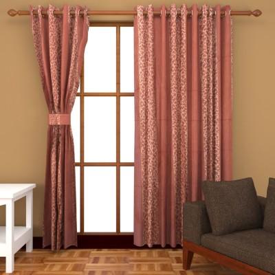 BSB Trendz Polyester Peach Printed Eyelet Window & Door Curtain