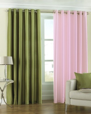 Homefab India Polyester Multicolor Solid Eyelet Window Curtain
