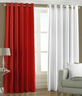 The Decor Hub Polyester Red, White Plain Eyelet Door Curtain