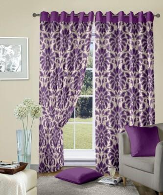 Cortina Polyester Purple Motif Eyelet Door Curtain