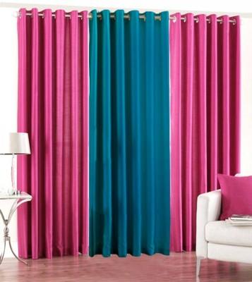 The Decor Hub Polyester Pink, Aqua Plain Eyelet Long Door Curtain