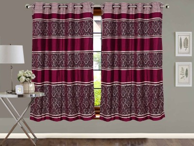 Vivace Homes Jacquard, Polyester Dark Pink Abstract Eyelet Window Curtain