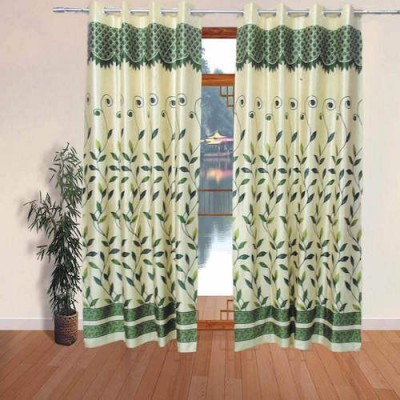 Qualityfab Polyester Green Floral Eyelet Door Curtain
