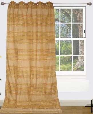 Edit One Polyester Yellow Striped Rod pocket Window & Door Curtain