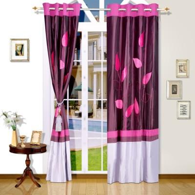 Eyda Polyester Plum Abstract Eyelet Door Curtain