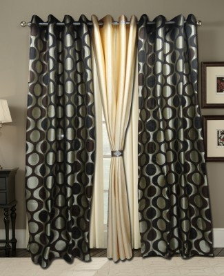 Zigma Collections Polyester Black, Yellow Embroidered Eyelet Door Curtain
