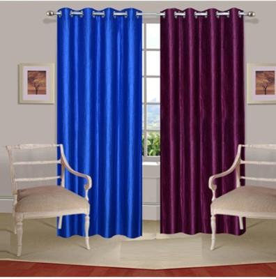 Fogg Polyester Blue, Purple Solid Eyelet Door Curtain