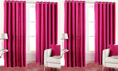 Jars Collections Polyester Pink Plain Eyelet Door Curtain