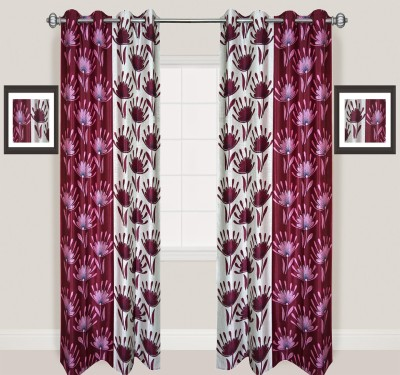 Rayon Casa Polyester Maroon Printed Eyelet Door Curtain