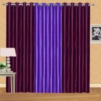 Shiv Shankar Handloom Polyester Wine, Purple Solid Eyelet Door Curtain(213 cm in Height, Pack of 3)