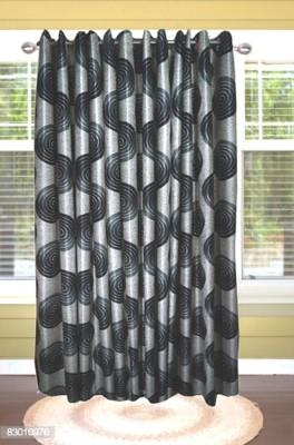 shoppeholics Polyester Grey Self Design Curtain Door Curtain