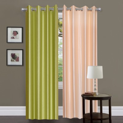 Madhav Product Polyester Green, Beige Solid Eyelet Door Curtain